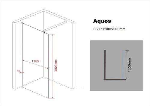 walk in 10 mm duschwand duschabtrennung duschkabine dusche 120x200 cm aquos duschk pfe. Black Bedroom Furniture Sets. Home Design Ideas