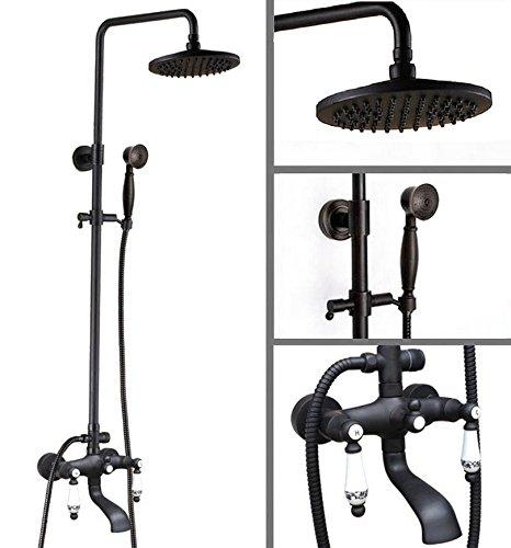 badezimmer mit regendusche wasserhahn set schwarz l rieb bronze an der wand montierte badewanne. Black Bedroom Furniture Sets. Home Design Ideas