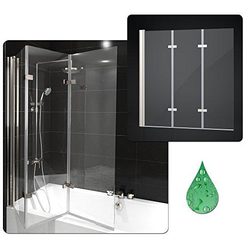 duschabtrennung badewanne duschwand badewannenfaltwand glas dusche 3 fl gel nano links. Black Bedroom Furniture Sets. Home Design Ideas