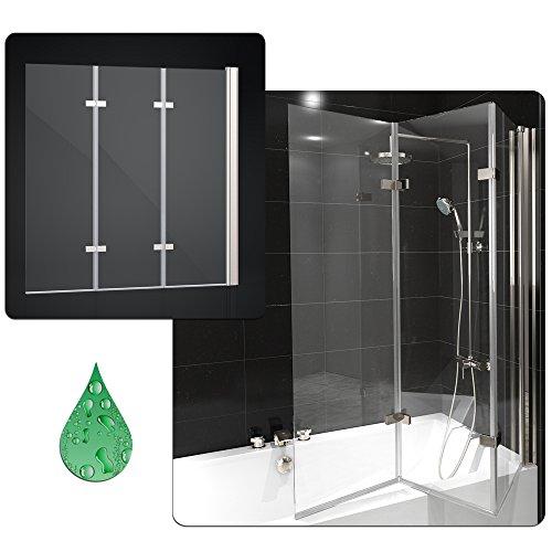 duschabtrennung badewanne duschwand badewannenfaltwand glas dusche 3 fl gel nano rechts. Black Bedroom Furniture Sets. Home Design Ideas