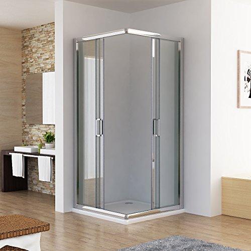 duschkabine dusche duschwand schiebet r eckeinstieg echtglas 90 x 90 x 195cm duschk pfe. Black Bedroom Furniture Sets. Home Design Ideas