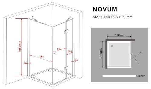 duschkabine novum 90 x 75 x 195 cm duschk pfe. Black Bedroom Furniture Sets. Home Design Ideas