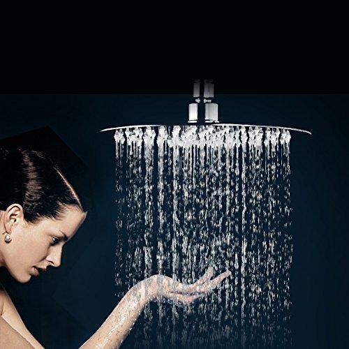 duschkopf regen f r badezimmer regendusche runde edelstahl spiegeleffekt hochgl nzend 12 zoll. Black Bedroom Furniture Sets. Home Design Ideas