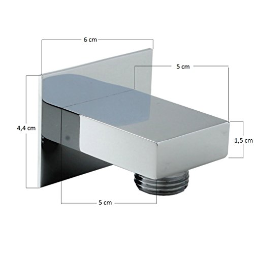 duschkopf mit schlauch und brause halter von sanixa quadratisch eckig duschbrause set abs. Black Bedroom Furniture Sets. Home Design Ideas