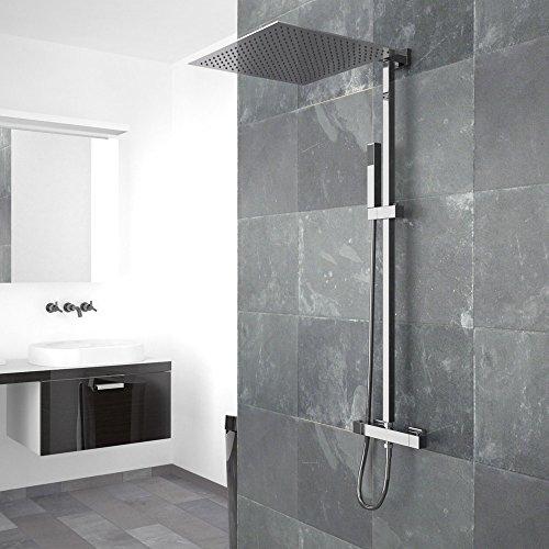 duschset duscharmatur handbrause thermostat duschkopf 40x40 cm regendusche duschpaneel duschk pfe. Black Bedroom Furniture Sets. Home Design Ideas