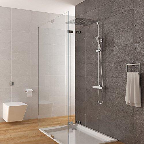 duschsystem inkl thermostat duschkopf 40x40cm handbrause duscharmatur dusche duschk pfe. Black Bedroom Furniture Sets. Home Design Ideas