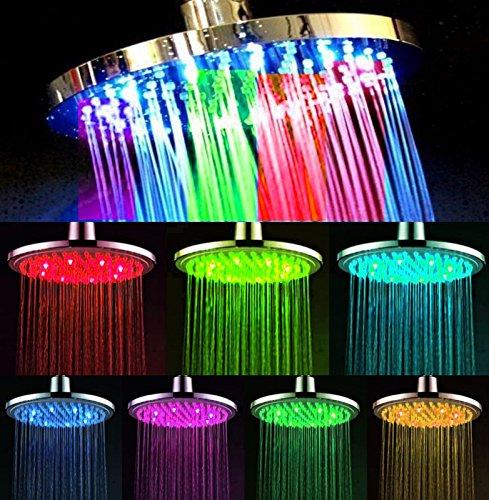 gro e led duschkopf ca 20 cm rund star line 7 farben bunte farbwechsel regenbogen. Black Bedroom Furniture Sets. Home Design Ideas