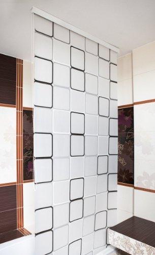 halb kassetten duschrollo 120 cm breit modell quadro duschvorhang grau weiss schwarz shower. Black Bedroom Furniture Sets. Home Design Ideas