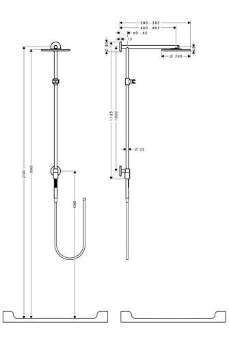 hansgrohe raindance connect kb 240 arm 460 duschk pfe. Black Bedroom Furniture Sets. Home Design Ideas