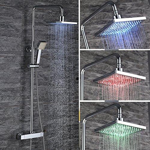 homelody 3 funktion led duschset mit thermostat duscharmatur eckig duschsystem mit led. Black Bedroom Furniture Sets. Home Design Ideas