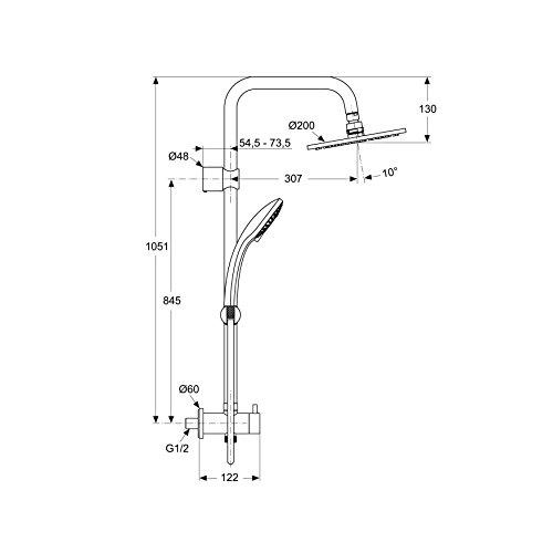ideal standard duschsystem idealrain zur kombination mit unterputz armatur anschl sse g1 2. Black Bedroom Furniture Sets. Home Design Ideas