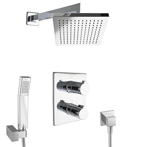 paulgurkes design regenduschset eckig mit thermostat unterputz armatur duschk pfe. Black Bedroom Furniture Sets. Home Design Ideas