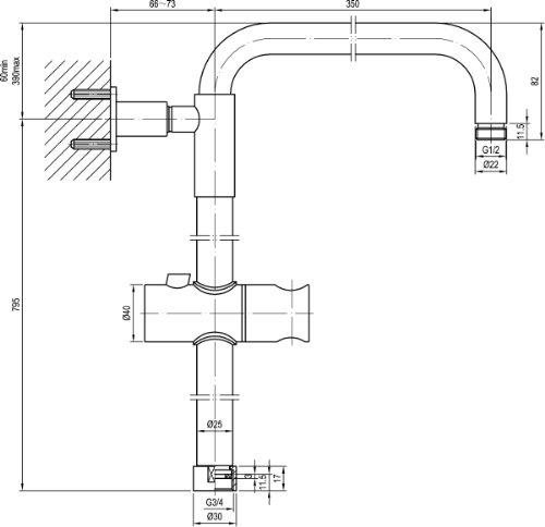 regen duschsystem mit thermostat armatur edelstahl regenbrause 250mm messing stabbrause. Black Bedroom Furniture Sets. Home Design Ideas