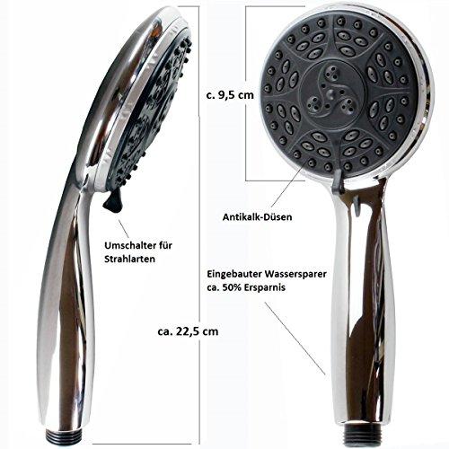Handbrause wassersparend Duschbrause Antikalk 4 Funktion Duschkopf Brausekopf