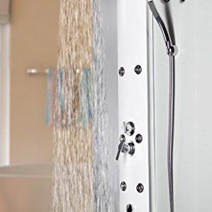 Duschpaneel Brausepaneel Duschsäule Regendusche Eckmontage Thermostat Weiß