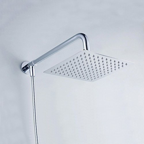 hiendure wandhalterung 20 3 cm rainfall duschkopf viereckig mit dusche arm edelstahl. Black Bedroom Furniture Sets. Home Design Ideas