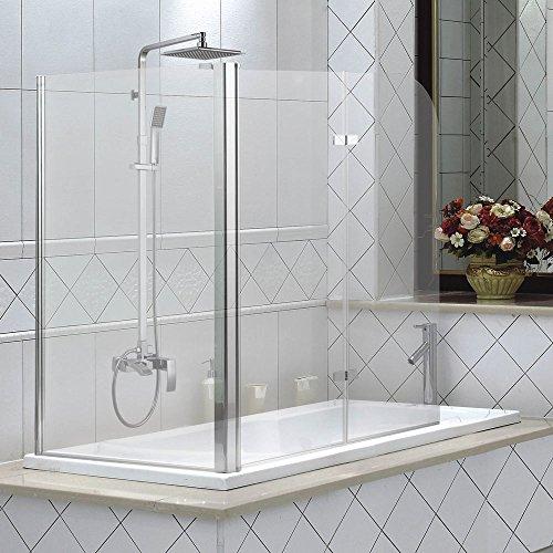3teilige glas badewannen duschwand faltwand. Black Bedroom Furniture Sets. Home Design Ideas
